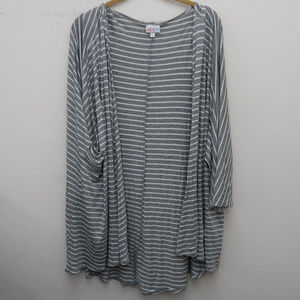 Lularoe Gray White Open Front Striped Cardigan Top